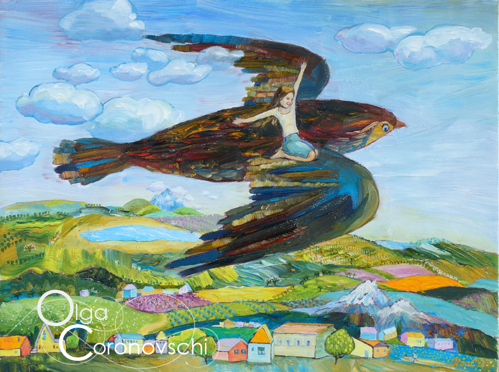 Olga Coronovschi, He Catches and Carries Me, Oil on Canvas.